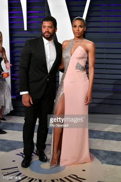 Russell Wilson and Ciara attend the 2019 Vanity Fair Oscar Party hosted by Radhika Jones at Wallis Annenberg Center for the Performing Arts on...