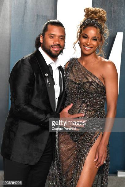 Russell Wilson and Ciara attend the 2020 Vanity Fair Oscar party hosted by Radhika Jones at Wallis Annenberg Center for the Performing Arts on...