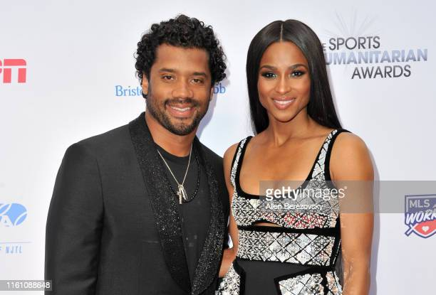 Russell Wilson and Ciara attend the 5th annual Sports Humanitarian Awards presented by ESPN at The Novo Theater at LA Live on July 09 2019 in Los...