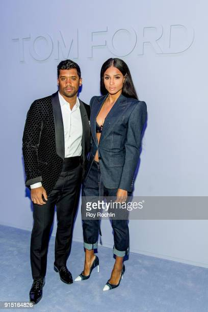 Russell Wilson and Ciara attend the Tom Ford Fall/ Winter 2018 Men's Runway Show at Park Avenue Armory on February 6 2018 in New York City