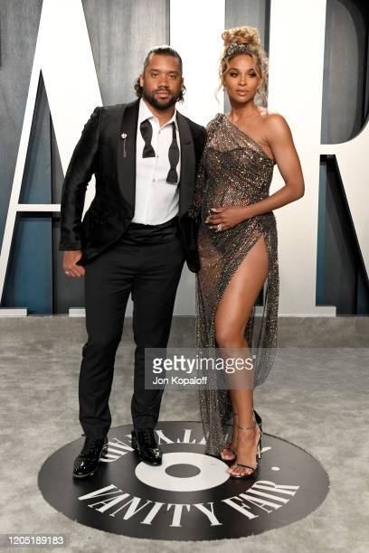 Russell Wilson and Ciara attends the 2020 Vanity Fair Oscar Party hosted by Radhika Jones at Wallis Annenberg Center for the Performing Arts on...