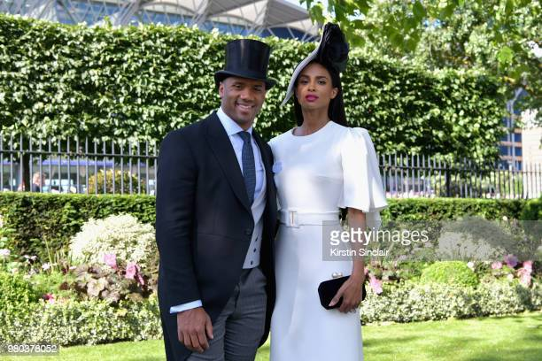 Russell Wilson and Ciara Harris attend day 3 of Royal Ascot at Ascot Racecourse on June 21 2018 in Ascot England