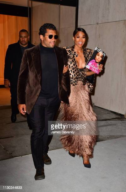 Russell Wilson and Ciara leave a private dinner at 15 Hudson Yards on March 13 2019 in New York City