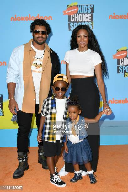 Russell Wilson and Ciara with Future Zahir Wilburn and Sienna Princess Wilson attend Nickelodeon Kids' Choice Sports 2019 at Barker Hangar on July 11...