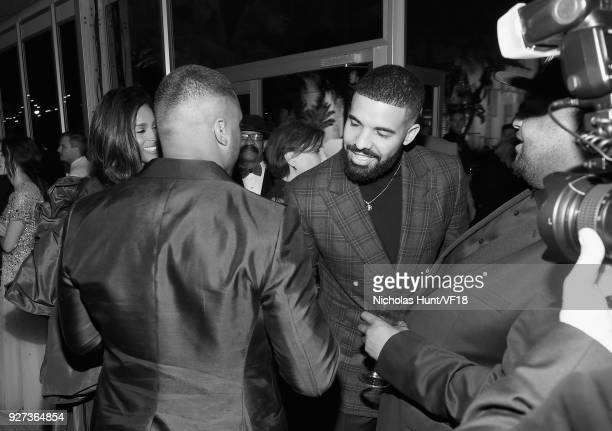 Russell Wilson and Drake attend the 2018 Vanity Fair Oscar Party hosted by Radhika Jones at Wallis Annenberg Center for the Performing Arts on March...