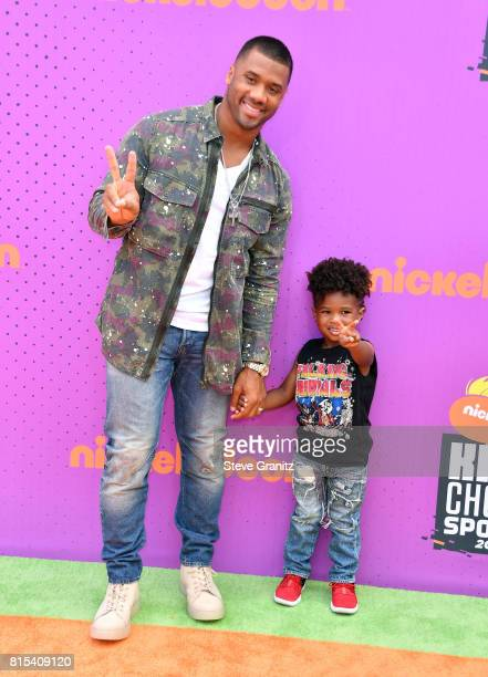 Russell Wilson and Future Wilburn attends the Nickelodeon Kids' Choice Sports Awards 2017 at Pauley Pavilion on July 13, 2017 in Los Angeles,...