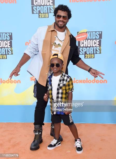 Russell Wilson and Future Zahir Wilburn attend Nickelodeon Kids' Choice Sports 2019 at Barker Hangar on July 11 2019 in Santa Monica California