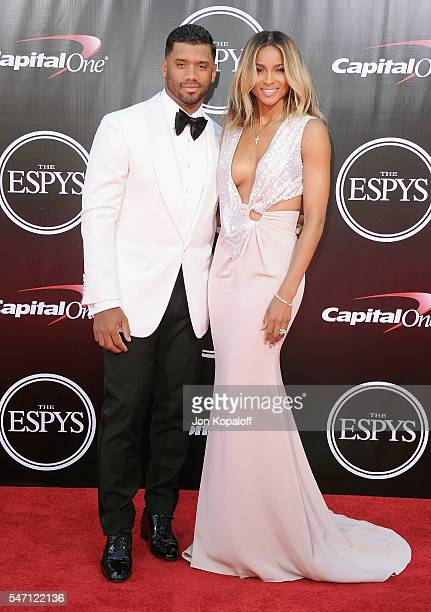 Russell Wilson and wife Ciara arrive at The 2016 ESPYS at Microsoft Theater on July 13 2016 in Los Angeles California