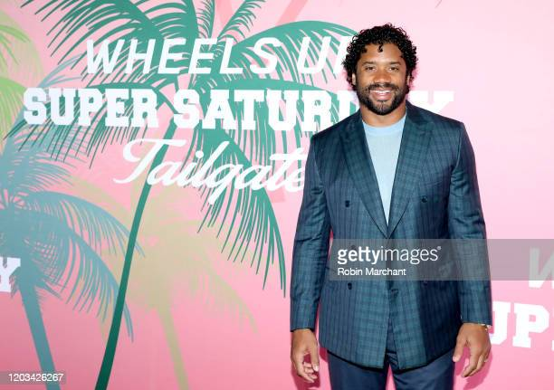 Russell Wilson at Wheels Up members-only Super Saturday Tailgate event on February 1, 2020 in Wynwood, Miami. The seventh-annual event featured a...