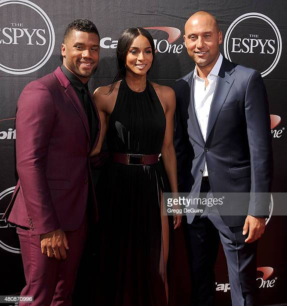 Russell Wilson Ciara and Derek Jeter arrive at The 2015 ESPYS at Microsoft Theater on July 15 2015 in Los Angeles California