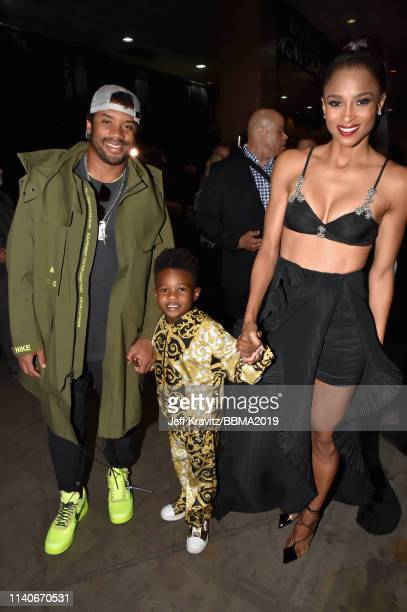 Russell Wilson Future Zahir Wilburn and Ciara are seen backstage during the 2019 Billboard Music Awards at MGM Grand Garden Arena on May 1 2019 in...