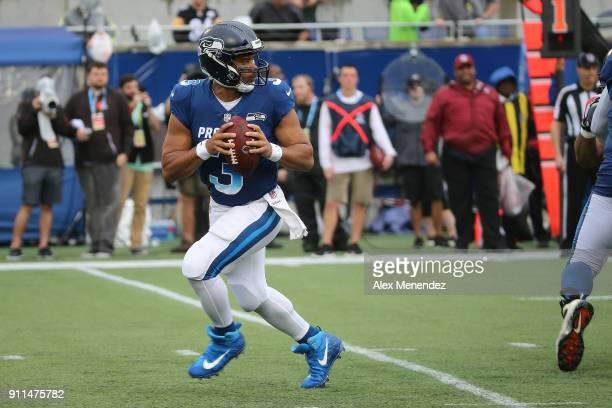 Russell Wilson of the Seattle Seahawks drops back to pass during the NFL Pro Bowl between the AFC and NFC at Camping World Stadium on January 28 2018...