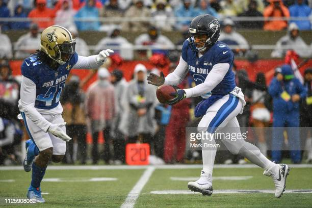 Russell Wilson of the Seattle Seahawks in action during the 2019 NFL Pro Bowl at Camping World Stadium on January 27 2019 in Orlando Florida