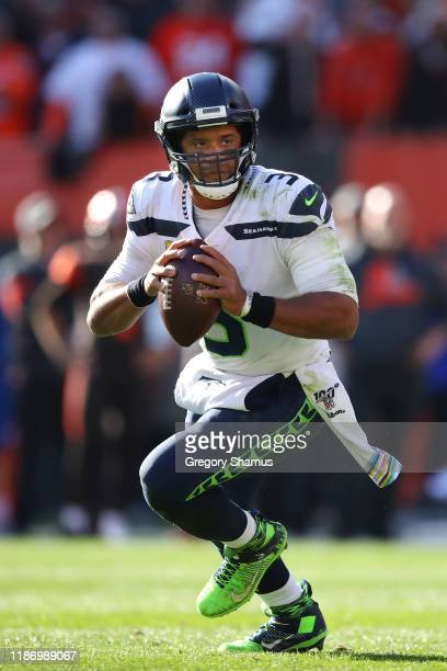 Russell Wilson of the Seattle Seahawks plays against the Cleveland Browns at FirstEnergy Stadium on October 13 2019 in Cleveland Ohio