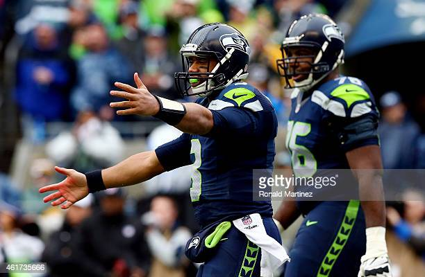 Russell Wilson of the Seattle Seahawks reacts in the second quarter while taking on the Green Bay Packers during the 2015 NFC Championship game at...