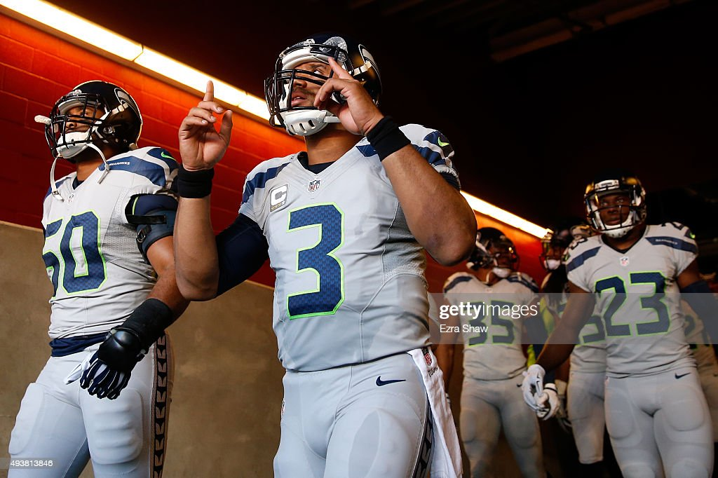 Russell Wilson #3 of the Seattle Seahawks takes the field against the San Francisco 49ers prior to their NFL game at Levi's Stadium on October 22, 2015 in Santa Clara, California.