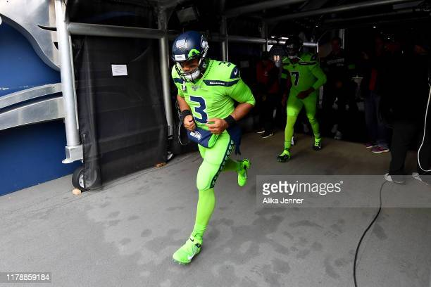 Russell Wilson of the Seattle Seahawks takes the field before the game against the Los Angeles Rams at CenturyLink Field on October 03 2019 in...