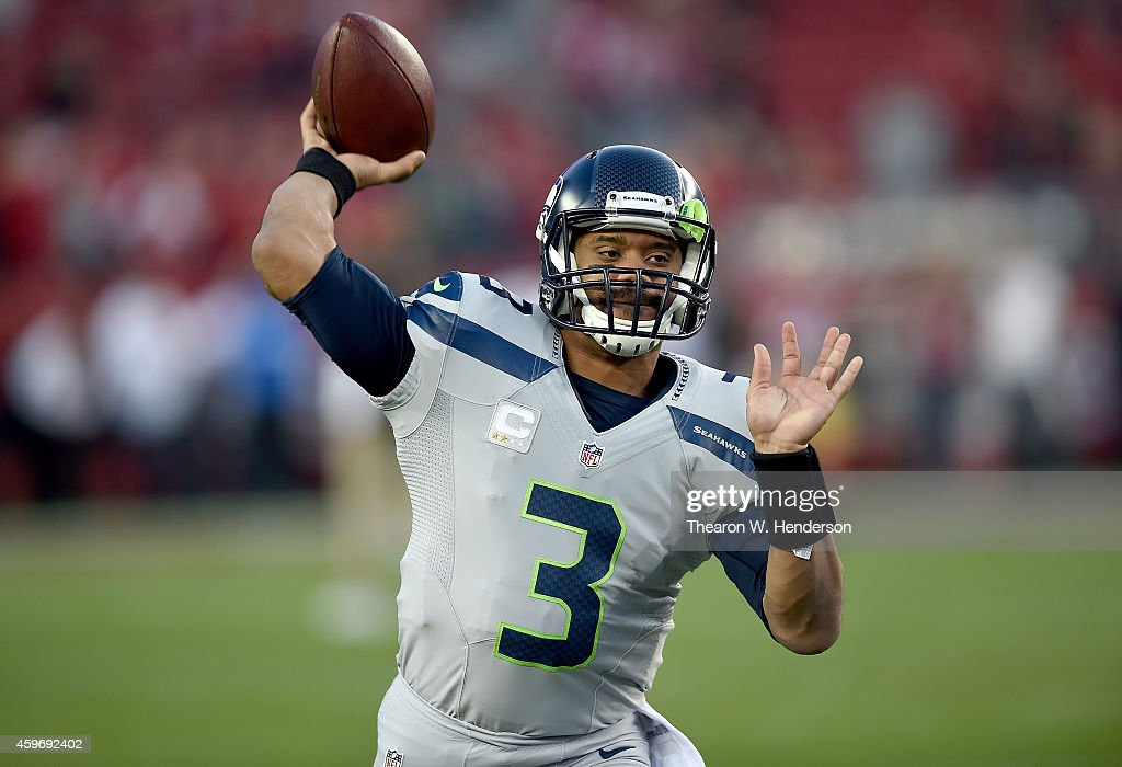 Russell Wilson #3 of the Seattle Seahawks warms up during pregame warm ups prior to playing the San Francisco 49ers at Levi's Stadium on November 27, 2014 in Santa Clara, California.