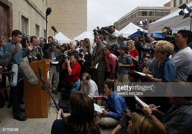 Russell Yates , husband of Andrea Pia Yates, speaks to the media outside the Harris County Courthouse after the punishment phase of his wife is...