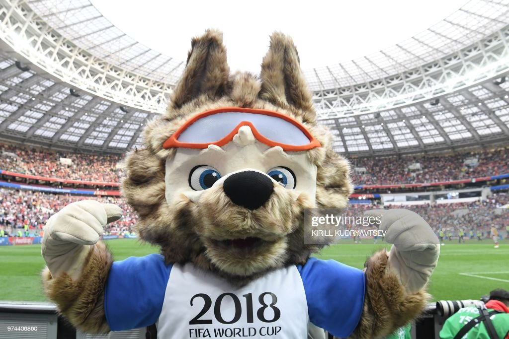 Russia 2018 World Cup football tournament's official mascot Zabivaka poses during the Russia 2018 World Cup Group A football match between Russia and Saudi Arabia at the Luzhniki Stadium in Moscow on June 14, 2018. (Photo by Kirill KUDRYAVTSEV / AFP) / RESTRICTED