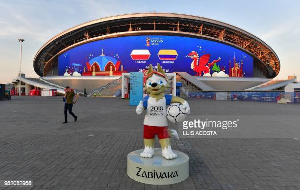 Russia 2018 World Cup mascot Zabivaka is displayed outside Kazan Arena stadium in Kazan on June 23 2018 on the eve of the Russia 2018 World Cup Group...