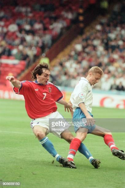 Russia 33 Czech Republic Euro 1996 Group C match at Anfield Liverpool Wednesday 19th June 1996 Jiri Nemec Valeri Karpin