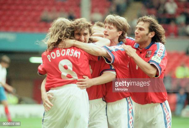 Russia 33 Czech Republic Euro 1996 Group C match at Anfield Liverpool Wednesday 19th June 1996 Karel Poborsky Patrik Berger