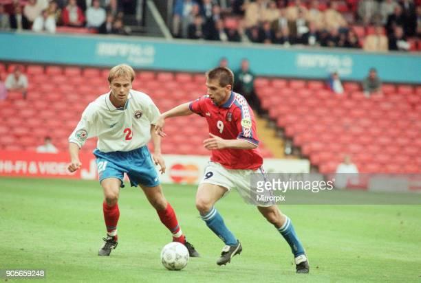 Russia 33 Czech Republic Euro 1996 Group C match at Anfield Liverpool Wednesday 19th June 1996 Omari Tetradze No2 Pavel Kuka