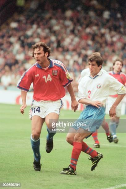 Russia 33 Czech Republic Euro 1996 Group C match at Anfield Liverpool Wednesday 19th June 1996 Patrik Berger No14 Omari Tetradze No2