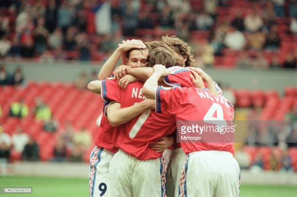 Russia 33 Czech Republic Euro 1996 Group C match at Anfield Liverpool Wednesday 19th June 1996 Jiri Nemec No7 Pavel Nedved No4