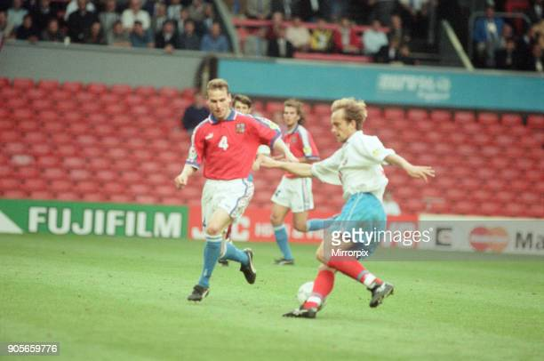 Russia 33 Czech Republic Euro 1996 Group C match at Anfield Liverpool Wednesday 19th June 1996 Pavel Nedved No4 Dmitri Khokhlov No21