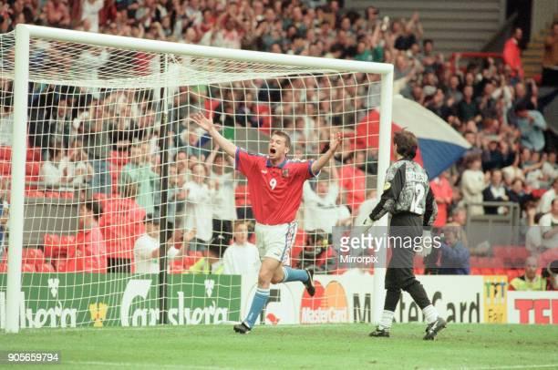 Russia 33 Czech Republic Euro 1996 Group C match at Anfield Liverpool Wednesday 19th June 1996 Pavel Kuka No9 Stanislav Cherchesov goalkeeper