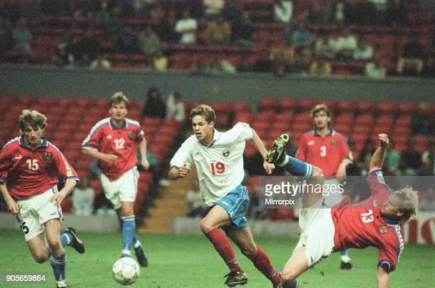Russia 33 Czech Republic Euro 1996 Group C match at Anfield Liverpool Wednesday 19th June 1996 Vladislav Radimov No19 Michal Hornak No15 Radek Bejbl...