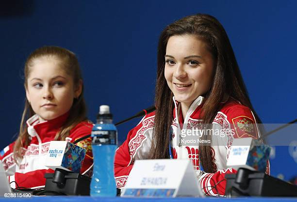 SOCHI Russia Adelina Sotnikova of Russia attends a press conference in Sochi Russia on Feb 21 the day after winning gold in the women's figure...