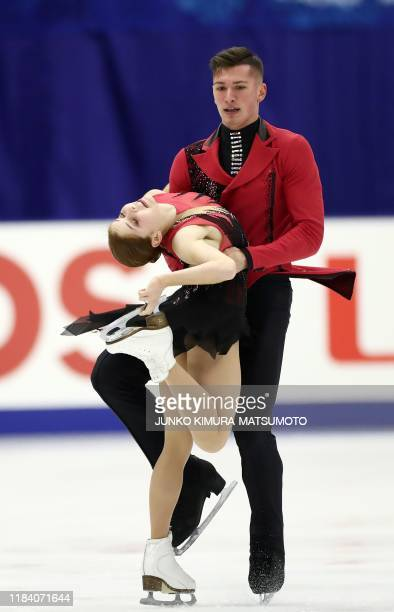 Russia' Anastasia Mishina and Aleksandr Galliamov perform during the pairs free skating at the Grand Prix of Figure Skating 2019/2020 NHK Trophy in...