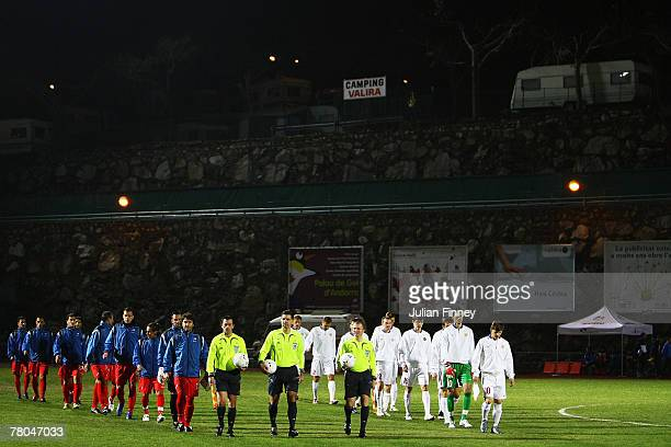 Russia and Andorra enter the pitch before the Euro2008 Qualifier match between Andorra and Russia at the Estadi Comunal on November 21 2007 in...