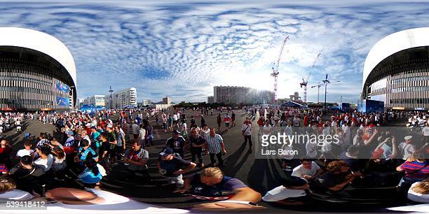 Russia and England fans make their way to the stadium prior to kickoff during the UEFA EURO 2016 Group B match between England and Russia outside the...