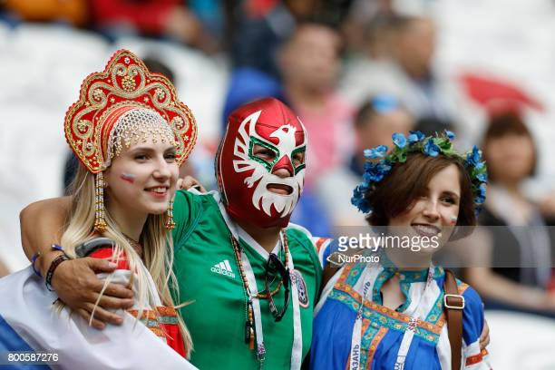 Russia and Mexico supporters during the Group A FIFA Confederations Cup Russia 2017 match between Russia and Mexico at Kazan Arena on June 24 2017 in...