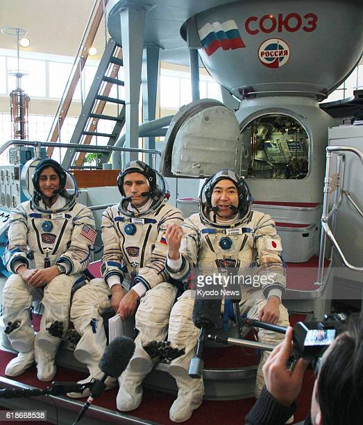 MOSCOW Russia Astronauts Sunita Williams of the United States Yuri Malenchenko of Russia and Akihiko Hoshide of Japan are pictured in front of a...