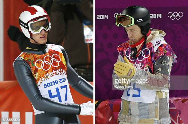 SOCHI Russia Austrian ski jumper Gregor Schlierenzauer and US snowboarder Shaun White seen left and right in this combination photo were among medal...