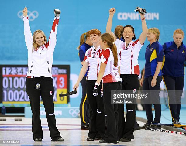 SOCHI Russia Canadian skip Jennifer Jones celebrates with her teammates after beating Sweden 63 in the women's curling gold medal game at the Ice...