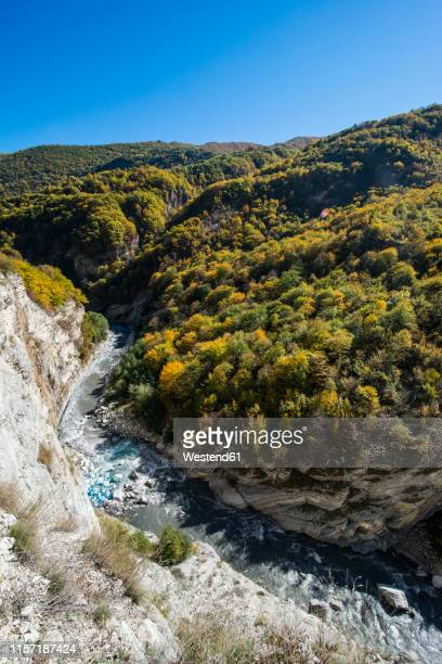 russia, caucasus, chechnya, the caucasian mountains in fall with the argun river - chechnya stock pictures, royalty-free photos & images