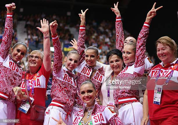 Russia celebrate winning gold in the Group AllAround Rhythmic Gymnastics Final Rotation on Day 16 of the London 2012 Olympic Games at Wembley Arena...