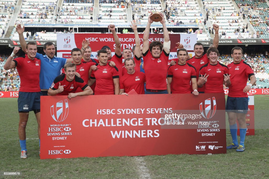 Russia celebrate with the Challenge trophy after victory over France in the Challenge Trophy final match in the 2017 HSBC Sydney Sevens at Allianz Stadium on February 5, 2017 in Sydney, Australia.