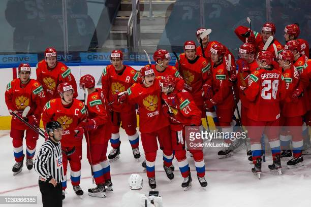 Russia celebrates the victoory over Sweden during the 2021 IIHF World Junior Championship at Rogers Place on December 30, 2020 in Edmonton, Canada.