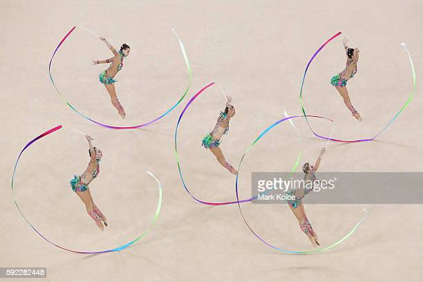 Russia compete during the ribbon rotation 1 in the group allround qualification round at the at Rio Olympic Arena on August 20 2016 in Rio de Janeiro...