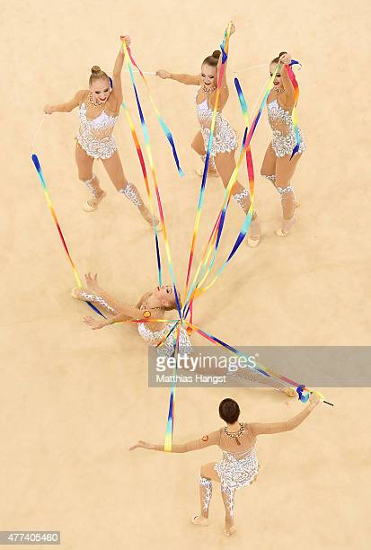 Russia compete in the Rhythmic Gymnastics Group AllAround final during day five of the Baku 2015 European Games at the National Gymnastics Arena on...
