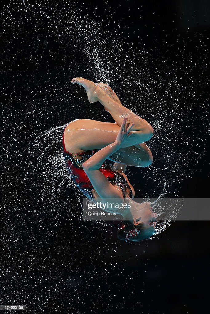 Russia competes during the Synchronized Swimming Free Combination Final on day eight of the 15th FINA World Championships at Palau Sant Jordi on July 27, 2013 in Barcelona, Spain.