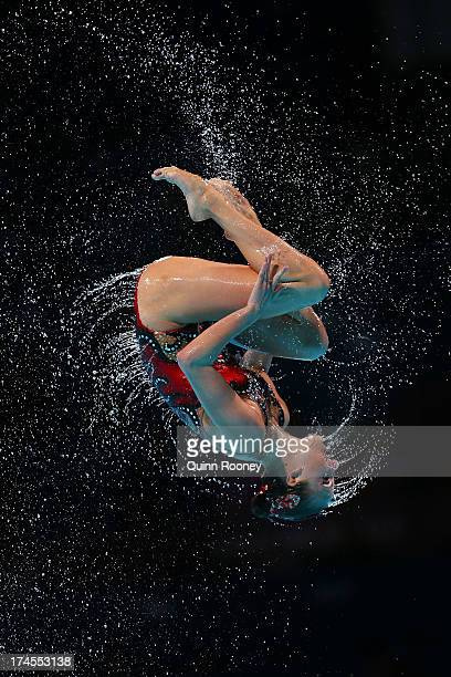 Russia competes during the Synchronized Swimming Free Combination Final on day eight of the 15th FINA World Championships at Palau Sant Jordi on July...