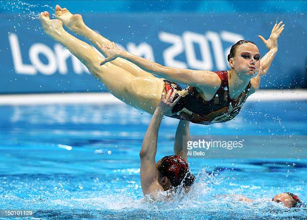 Russia competes in the Women's Teams Synchronised Swimming Free Routine final on Day 14 of the London 2012 Olympic Games at the Aquatics Centre on...
